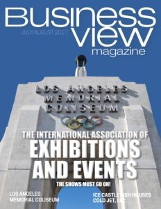 Business View Magazine cover for July 2017, showing a photo of the Los Angeles Memorial Coliseum archway.