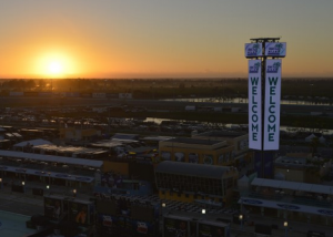 Homestead-Miami Speedway Welcome sign aerial view at sunset.