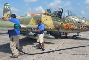 Sebring Regional Airport & Commerce Park shows off a fighter airplane with a cool green monster paint job.