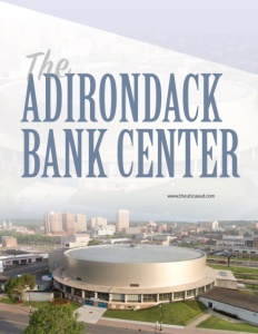 Adirondack Bank Center brochure cover showing an aerial view of the center.