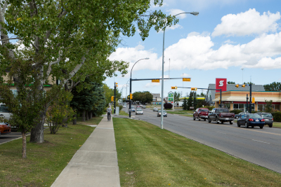 Downtown street view of Airdrie Alberta.