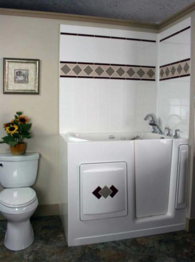 A Bestbath bathtub on display in a bathroom.