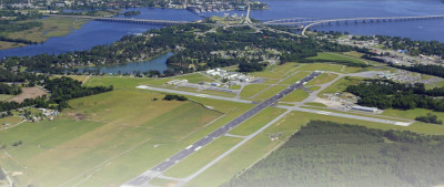 Aerial view of the Coastal Carolina Regional Airport.