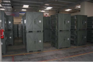 PRC Composites. Warehouse with many stacked composite containers.