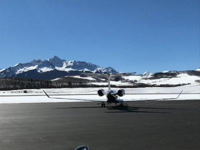 A Gulf Stream 650 getting ready for takeoff at Telluride Regional Airport.